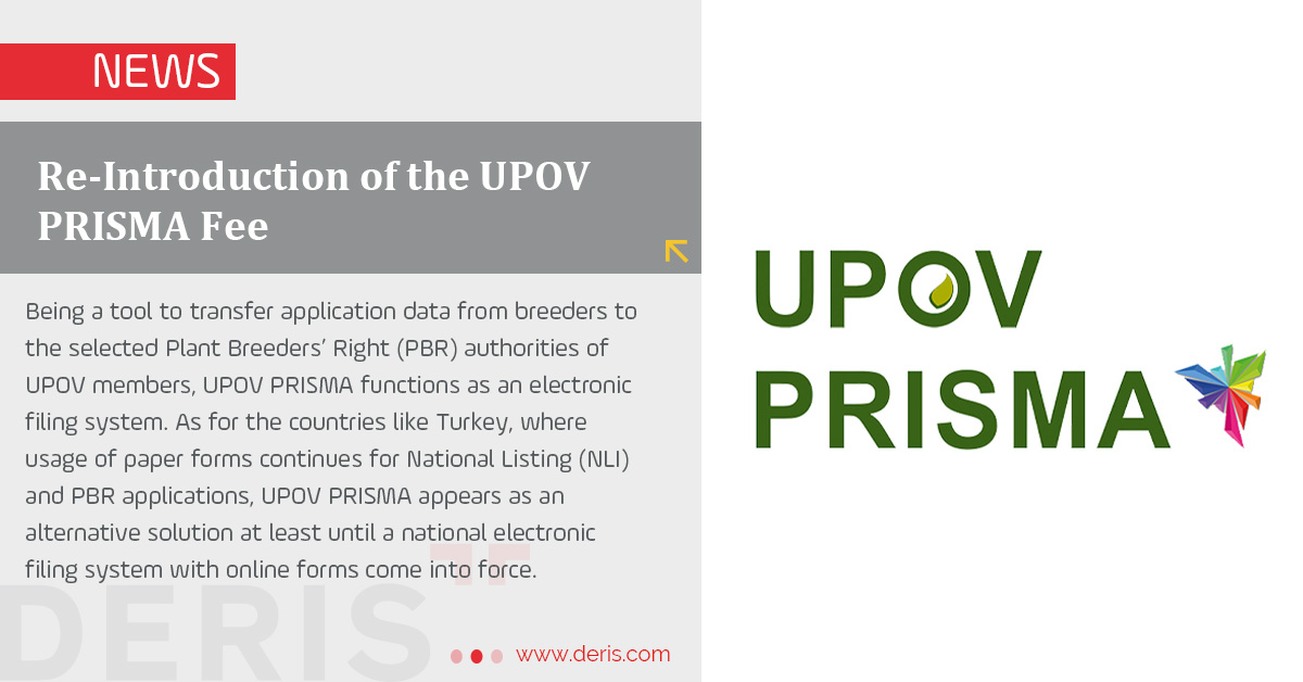 Re-Introduction of the UPOV PRISMA Fee
